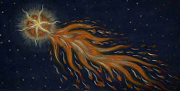 """In 1007 A.D., a wondrous comet appeared. It gave off fire and flames in every direction,"" wrote Augsburger Wunderzeichenbuch in The Book of Miracles in the 16th century. An ancient painting of a comet with tail from The Book of Miracles. (Public Domain)"