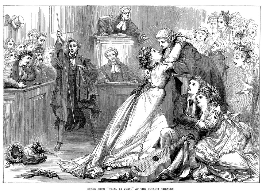 A scene from Trial by Jury, May 1875 (Public Domain)