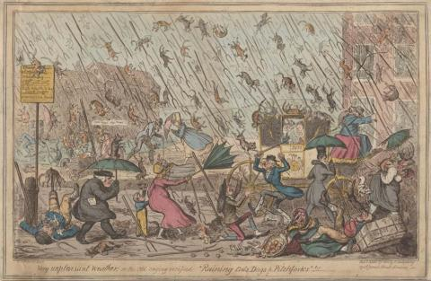 """Raining Cats, Dogs & Pitchforks"" (Public Domain)"