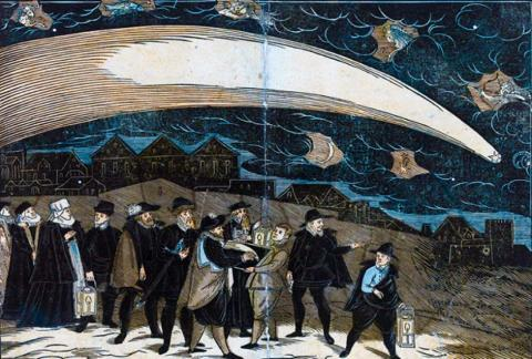 A depiction of the Great Comet of 1577 over Prague. In addition to the comet, five zodiac symbols appear in the sky: (L-R) Aries, Pisces, Aquarius, Capricorn, and Sagittarius. (Public Domain)