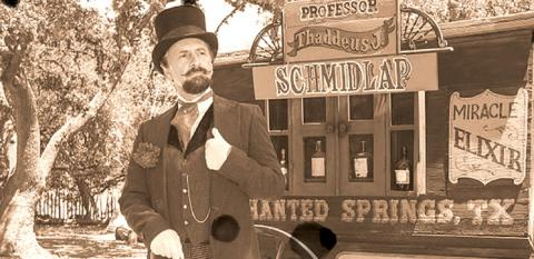 """Professor Thaddeus Schmidlap"" (historical intrepreter Ross Nelson), the resident snake-oil salesman at the Enchanted Springs Ranch. (Public Domain)"